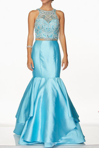 Cheap Gorgeous mermaid 2 piece prom dress with dramatic skirt 105-631 Prom dress - Simply Fab Dress