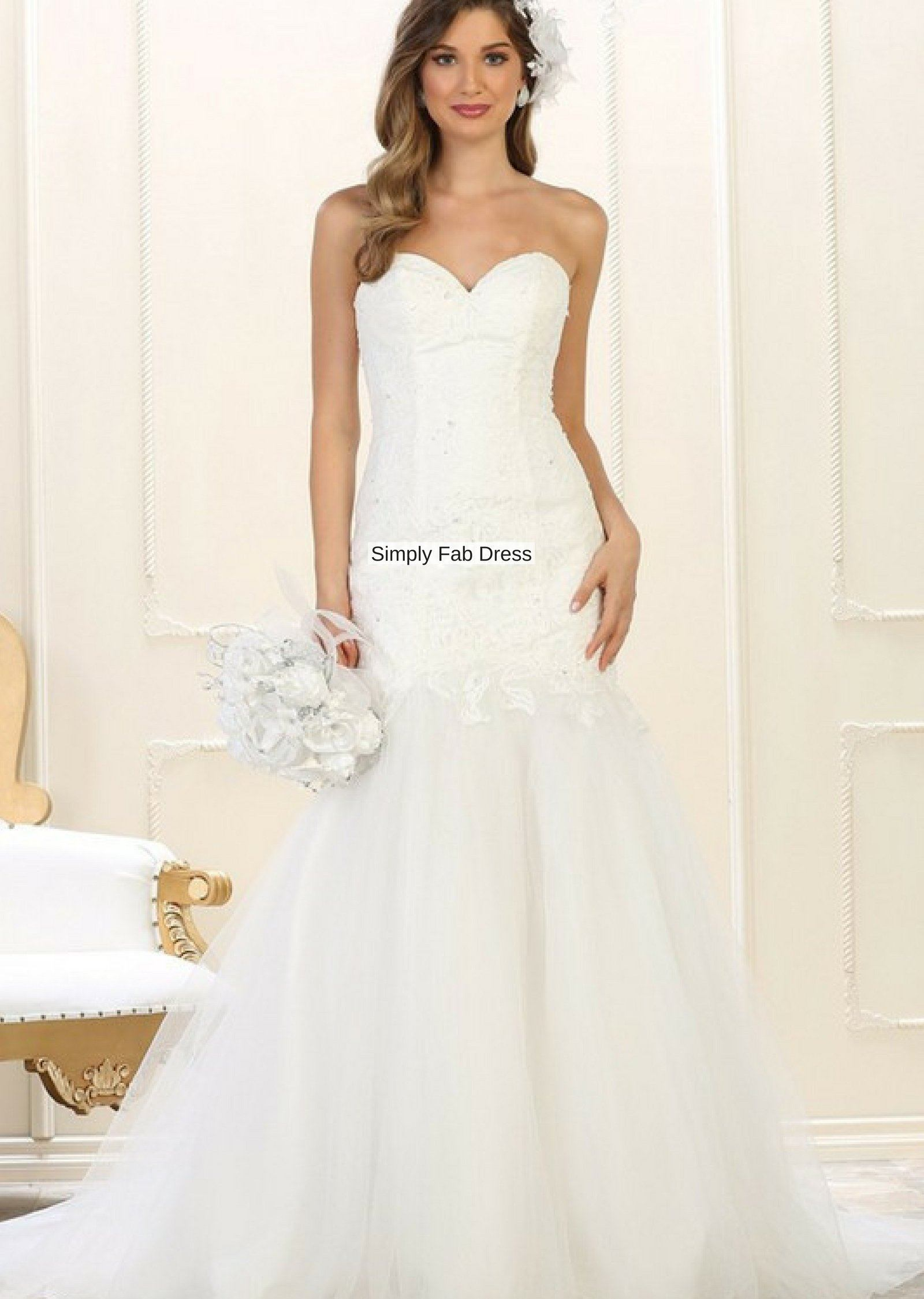 Mermaid trumpet wedding gown #RQ7600 – Simply Fab Dress
