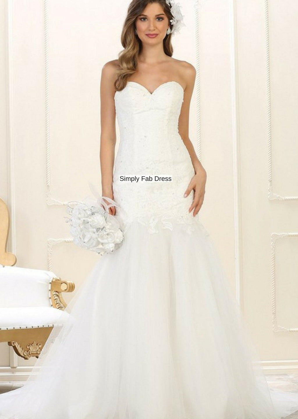 Mermaid trumpet wedding gown #RQ7600-Simply Fab Dress