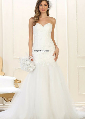 Inexpensive strapless wedding dress gl2370