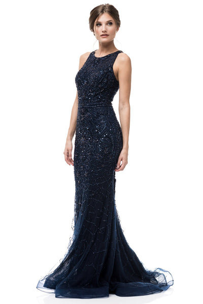 Navy sequins evening dress RR6571-Simply Fab Dress