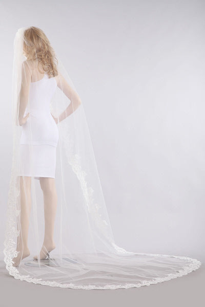 Chapel train wedding Veil  V1060-110 - Simply Fab Dress