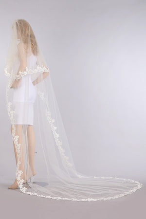 Two 2 tier floral lace edge chapel train bridal veil V1062-110 - Simply Fab Dress