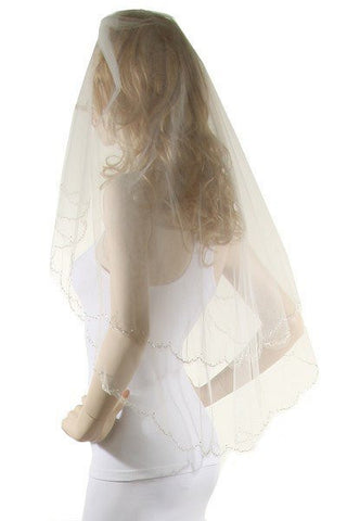 Crystal beaded edge wedding Veil  V0013-36 - Simply Fab Dress