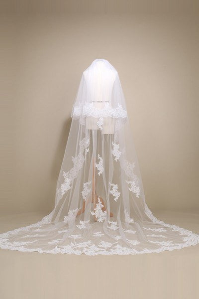 Lace Cathedral train wedding Veil  MV001-120 - Simply Fab Dress