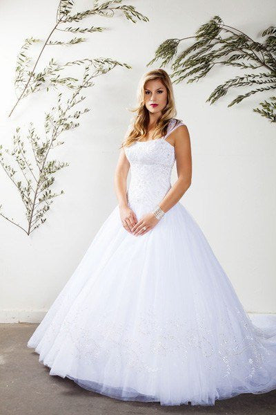 Cap sleeve A-line Ballgown Wedding Dress MT 184 - CLOSEOUT – Simply ...