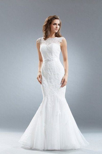 Full Lace Mermaid Wedding Dress 108-AB7077 Ivory Wedding Dress Affordable wedding dress - Simply Fab Dress