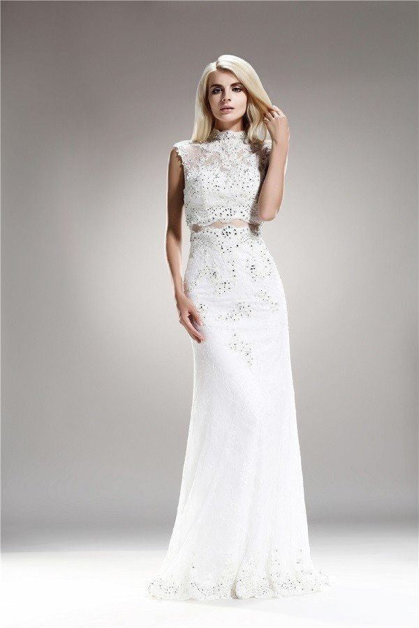 Lace embellished neckline sheath wedding dress 108-AB6716 – Simply ...