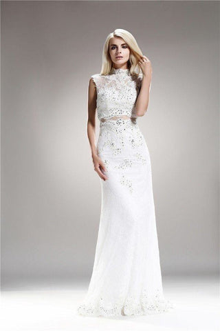 High Neck A-Line Wedding Gown 108-AB6716 Prom dress Wedding Dress Affordable wedding dress - Simply Fab Dress