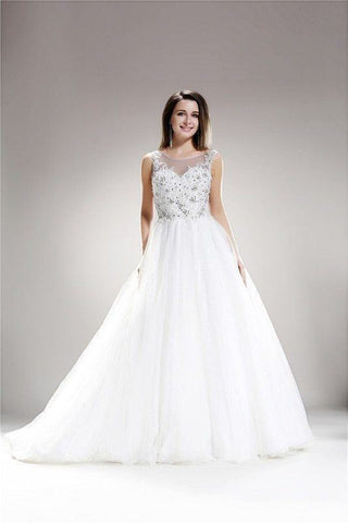 Illusion Top  Ballgown Wedding Dress 108-AB6704 Wedding Dress - Simply Fab Dress