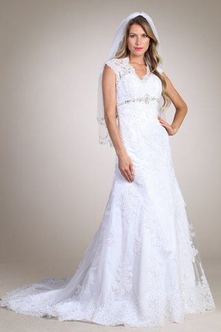 Lace Fit N Flare Mermaid Wedding Dress MT164 Affordable wedding dress - Simply Fab Dress