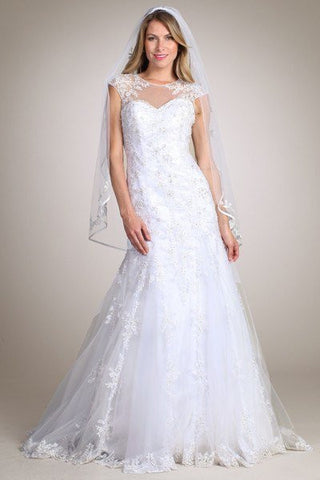 Lace Fit N Flare Wedding Dress MT 162 Affordable wedding dress - Simply Fab Dress