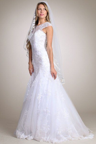 Lace Fit N Flare Wedding Dress MT 162 - CLOSEOUT – Simply Fab Dress