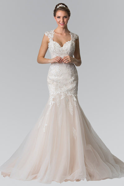 Champagne cheap lace Mermaid Wedding Dress gls 2367 - Simply Fab Dress
