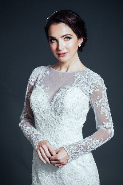 Long sleeve Lace Mermaid wedding dress MT205 - CLOSEOUT – Simply Fab ...