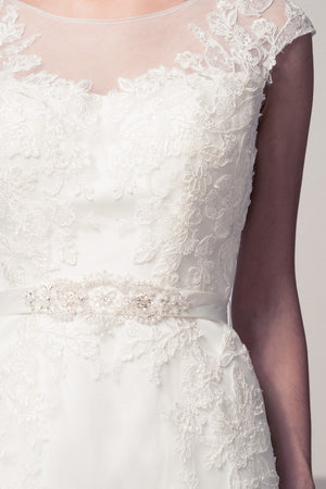 Romantic cap sleeve lace wedding dress #wjw2054 Affordable wedding dress - Simply Fab Dress