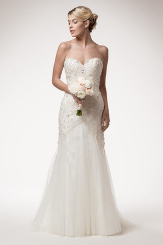 Beaded neckline lace fit & flare wedding dress BC#HCW062