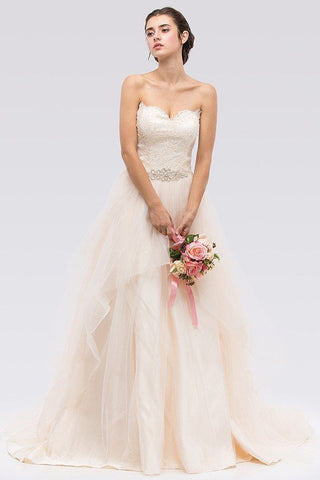 A-line ball gown Wedding Dress with lace applique FRW16243