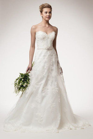 Strapless A-line lace wedding dress WYW1942 Affordable wedding dress - Simply Fab Dress