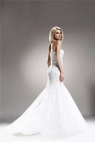 Strapless Embellished Fitted Wedding Gown 108-AB6703 Wedding Dress Affordable wedding dress - Simply Fab Dress