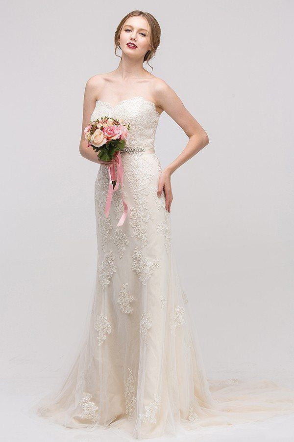 Wedding dress strapless lace