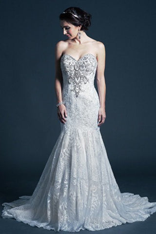 Strapless Mermaid Lace wedding dress MT196 Affordable wedding dress - Simply Fab Dress