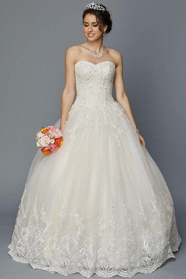 Strapless sweetheart neckline A-line Ballgown wedding dress jul#352 ...