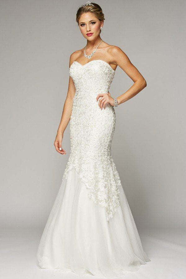 Affordable mermaid lace wedding dress 105 644w simply for V neck strapless wedding dress