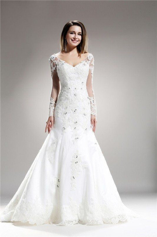 Long Sleeve Lace Fit And Flare Wedding Dress Simply