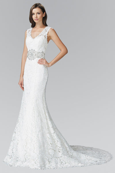 V-cut neckline fit and flare Wedding Dress 103-gl2078 Wedding Dress Affordable wedding dress - Simply Fab Dress