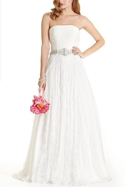 Strapless lace A-line Ballgown Wedding Dress 171-608 Affordable wedding dress - Simply Fab Dress