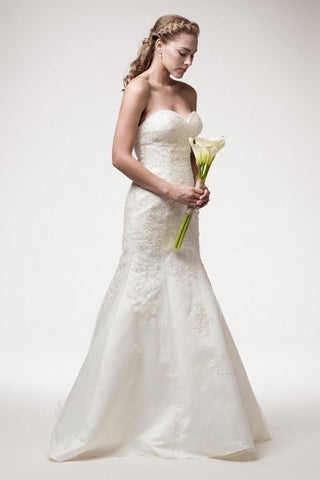 Strapless mermaid lace applique wedding dress 106-wjw140604 - Simply Fab Dress