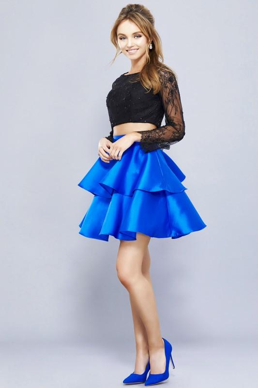 Black two piece homecoming dress with royal blue skirt 056-290 - Simply Fab Dress