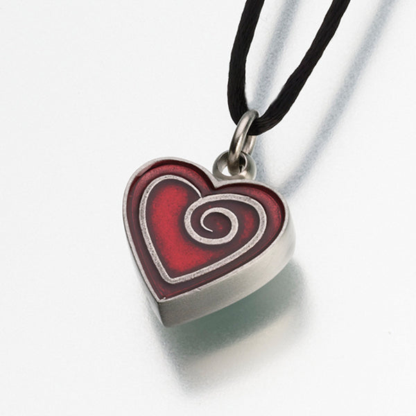 Enameled Pewter Heart Pendant