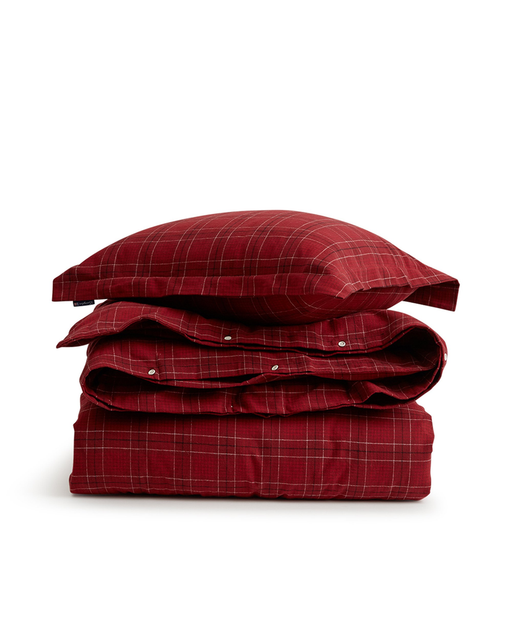Checked Flannel Bedding Set red 160x210/50x70 cm