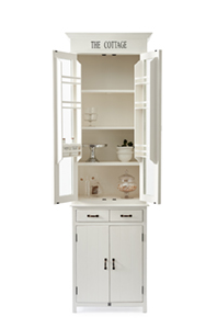 The Cottage Kitchen Glass Cabinet 65x40xH227cm