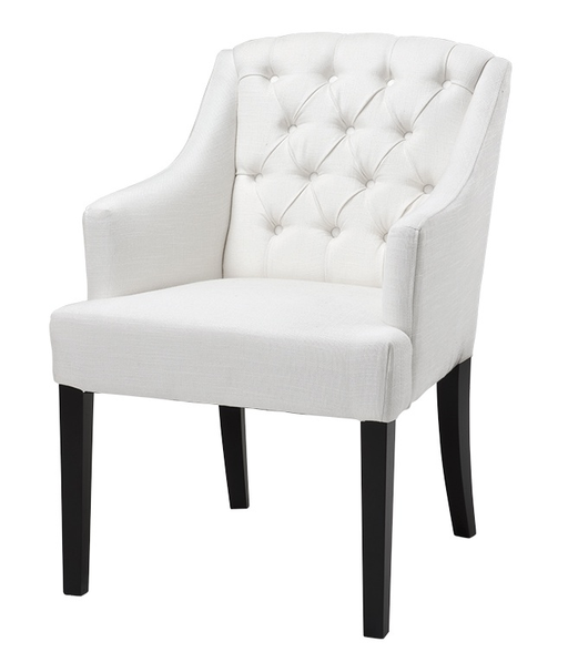 Chair Lancaster w/arm ivory linen look, 56x60x86h