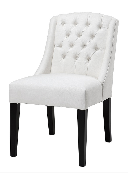 Chair Lancaster white ivory linen look 56x60x86h