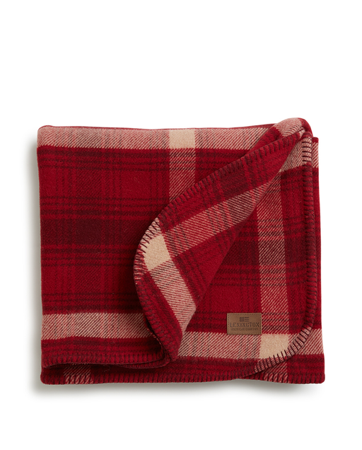 Checked Wool Blanket red/beige 140x200 cm