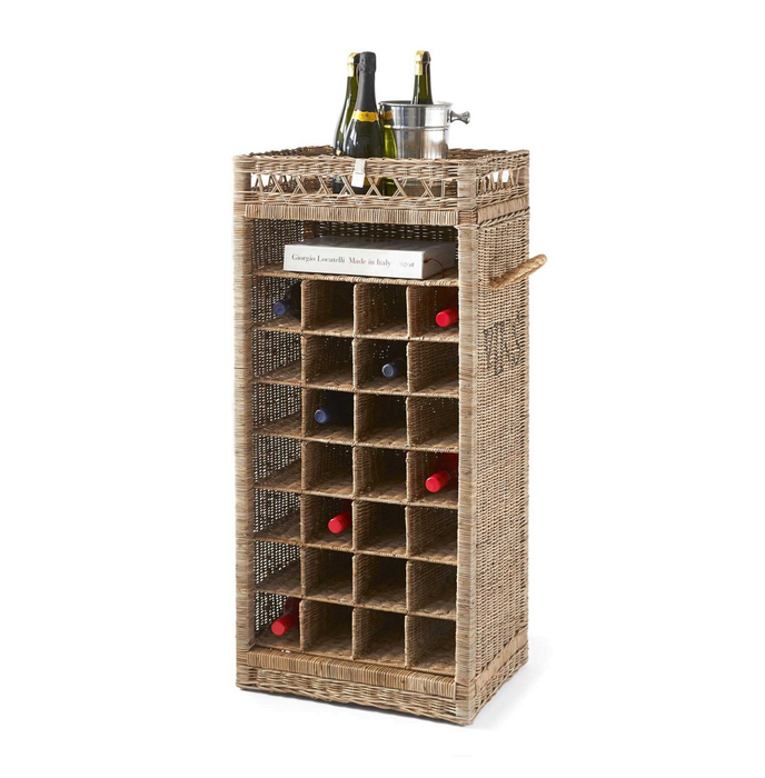 Rustic Rattan Wine Rack 28 Bottles