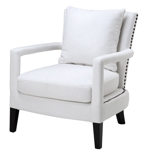 Chair Gregory White Linen Look, 70x70x81h
