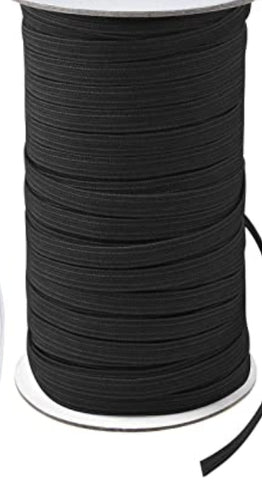 Elastic Flat Braid (Black/White)