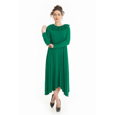 Plus size Green Fantastic Rollneck Pleated Dress