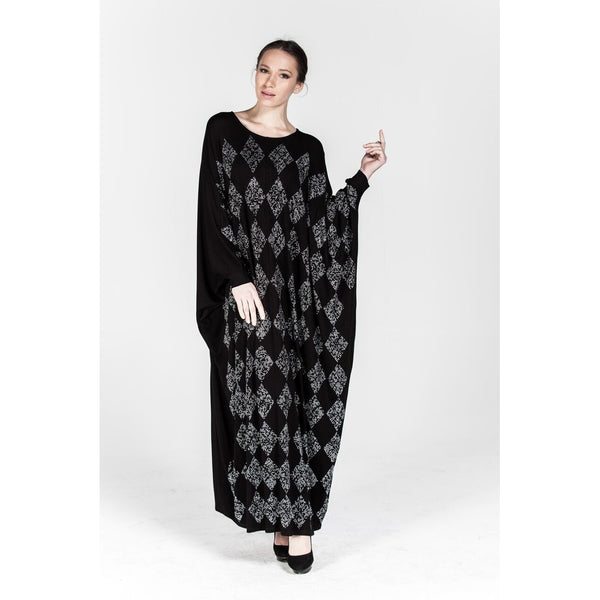 Sossana Elegant Dolman Long Sleeve Dress in Black