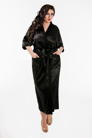 Plus size satin black robe dresssing gown long