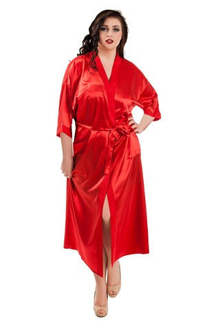 Plus size satin  red robe dresssing gown long