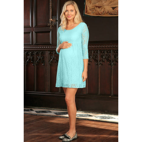 Mint Blue Stretchy Lace Empire Waist Sleeved Dress - Women Plus Size Maternity