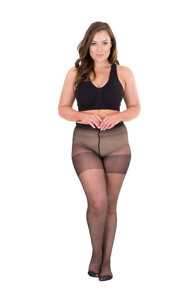 Plus size 40 den black seamed tights