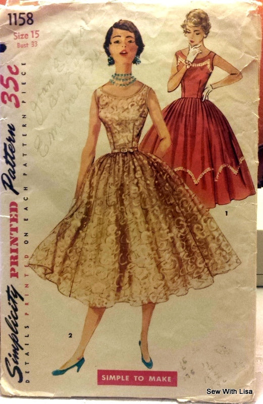 1950\'s Simplicity 1158 Vintage Sewing Pattern Misses Party Dress ...