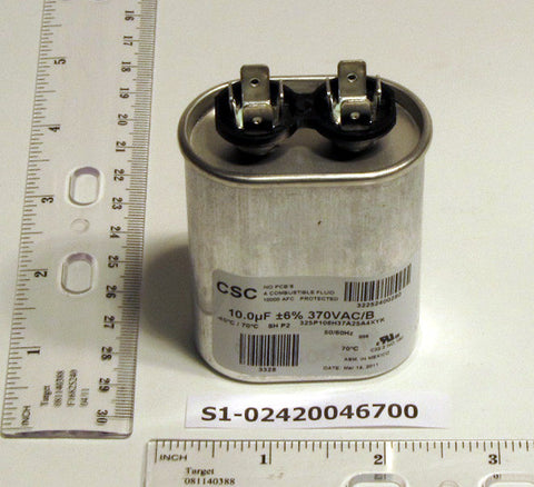 York S1-02420046700 10 MFD Oval Run Capacitor (370V)-HVAC Parts Outlet